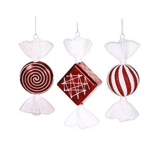 Vickerman 395356 – 8″ Red / White Peppermint Shiny Candy Assorted Christmas Tree Ornament (3 pack) (M110910)