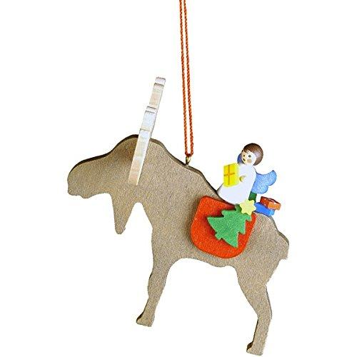"10-0482 – Christian Ulbricht Ornament – Angel on Elk – 3″""H x 3″""W x 3″""D"