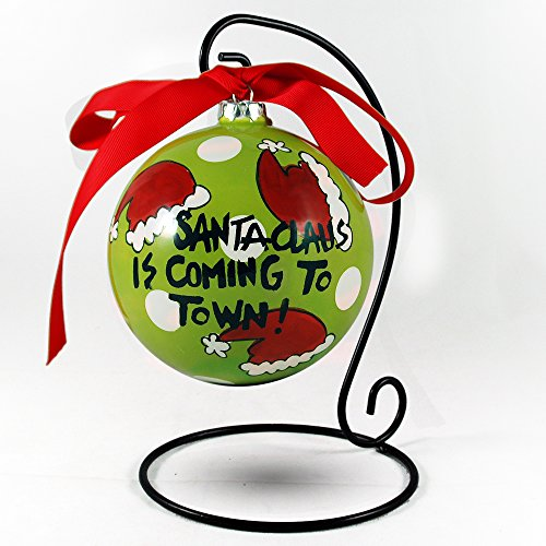 "Hand Painted ""Santa Claus Is Coming To Town!"" Hanging Christmas Ornament"