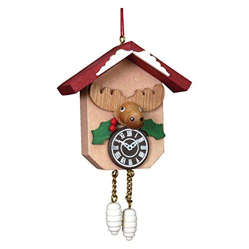 "10-0406 – Christian Ulbricht Ornament – Elk on Cuckoo Clock – 4.25″""H x 2.5″""W x 1.25″""D"