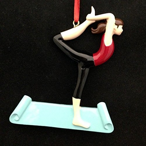 Yoga Pose, Female, Brunette Personalized Christmas Tree Ornament by Rudolph and Me Ornaments
