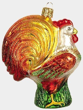 Rooster Polish Glass Christmas Ornament Poland Chicken Decoration