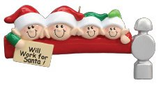 Elf Workers Family 4 Personalized Christmas Tree Ornament