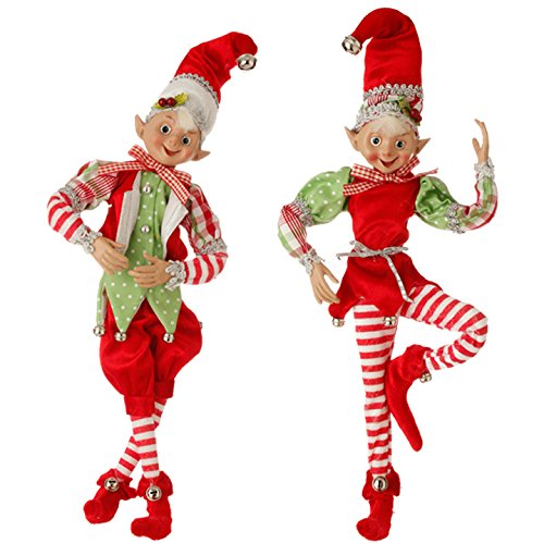 RAZ Imports 16″ Posable Elves – Red White and Green Peppermint Striped Pants Christmas Decoration / Ornaments –  Set of 2