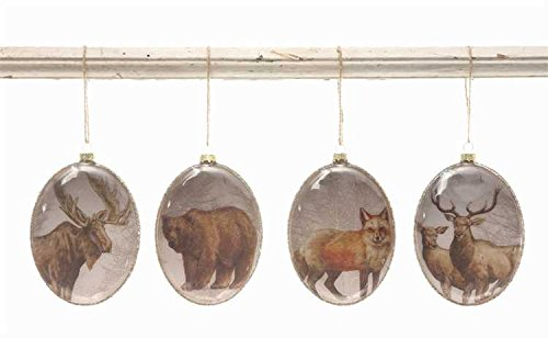 Glass Ornament with Wildlife Image Set of 4