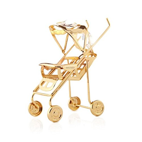 24K Gold Plated Crystal Studded Baby Stroller Ornament by Matashi