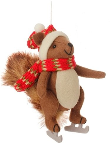 7.75″ Country Cabin Stuffed Animal Squirrel On Ice Skates with a Red Scarf Christmas Figure Ornament