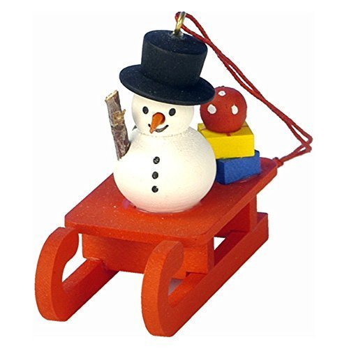 "10-0432 – Christian Ulbricht Ornament – Snowman on Sled – 2″""H x 1″""W x 2″""D by Christian Ulbricht"