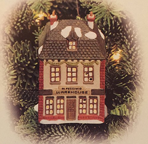 1998 Department 56 Dickens Heritage Village Christmas Carol Cottages Miniature Lighted Ornament #98745 Fezziwig's Warehouse