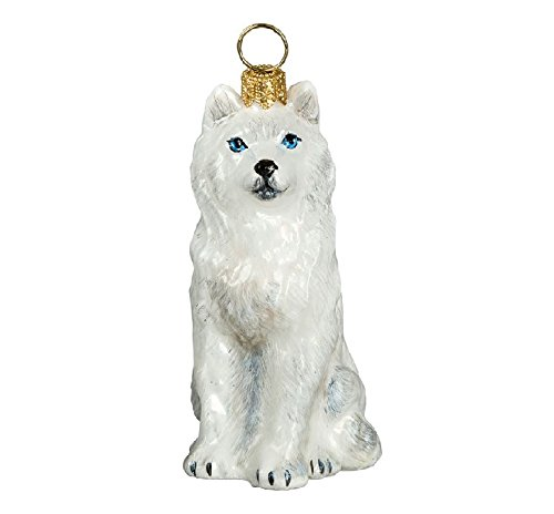 White Siberian Husky with Blue Eyes Dog Polish Blown Glass Christmas Ornament