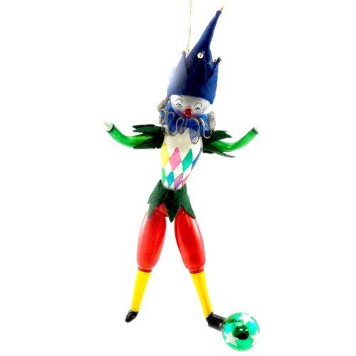 De Carlini CLOWN KICK BALL Blown Glass Ornament Circus Christmas PA3630