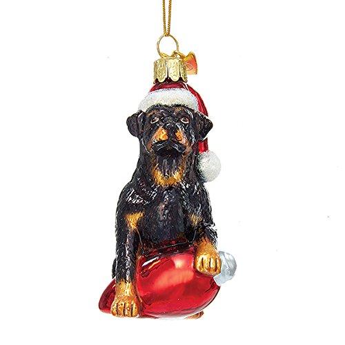Kurt Adler Glass Noble Gems Rottweiler on Red C7 Bulb Christmas Ornament