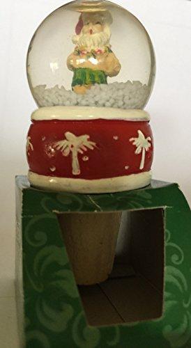 Island Heritage Hawaiian Hula Santa Christmas Snow Globe Bottle Stopper