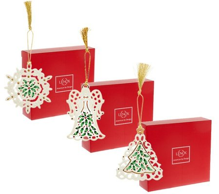 Lenox Holiday Porcelain Ornaments Set of 3, Angel, Tree and Snowflake