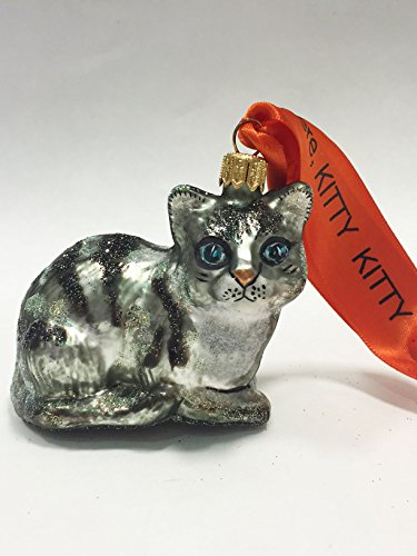 Ornaments to Remember: KITTY CAT Christmas Ornament (White/Black)