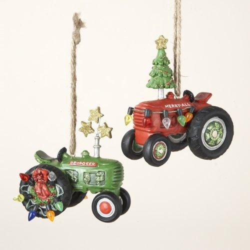 Kurt Adler 3-1/4-Inch Resin Tractor Ornament, Set of 2