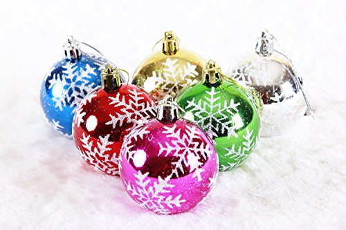 6pcs 10cm Mixed Color Christmas Balls For Christmas Tree Ornaments Decoration Supplies Hangings English Quote Merry Christmas