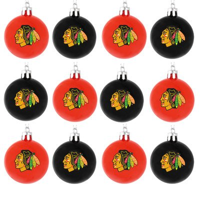 NHL Ball Ornament (Set of 12) NHL Team: Chicago Blackhawks