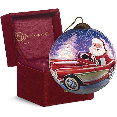 "Ne'Qwa Art, Christmas Gifts, ""Santa's Sportscar"" Artist Dona Gelsinger, Petite Round-Shaped Glass Ornament, #7161103"