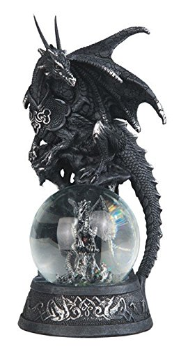 StealStreet SS-G-71553 Black Dragon On Baby Grey Dragon Snow Globe Decorative Statue