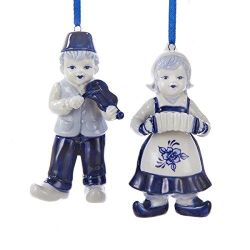 Kurt Adler 3.5″ Porcelain Delft Blue Dutch Boy & Girl Ornaments 2/asstd