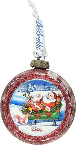 G. Debrekht Joyful Sleigh Ride Cut Ball Glass Ornament