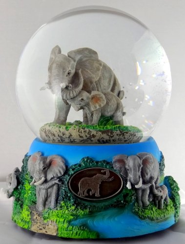 Sculptured Elephant with Baby Snow Globe – Water Ball Music Box 5 3/4″ High