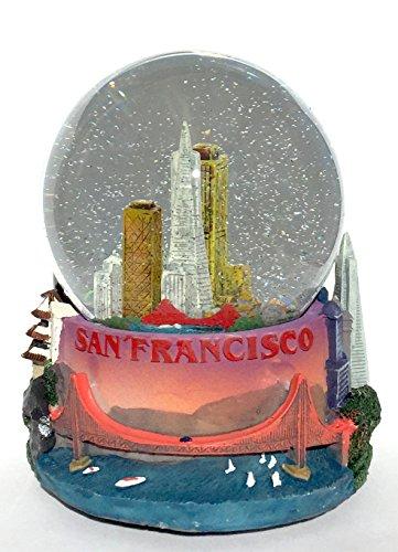 San Francisco Cityscape 100mm Musical Snow Globe Golden Gate Bridge Skyline replica Glitterdome