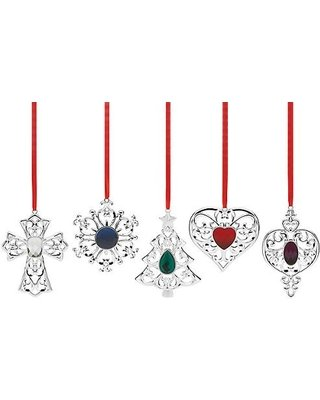 Lenox Bejeweled Silverplated Holiday Ornament Set – 5 Piece (5)