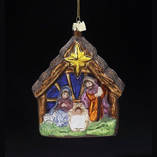 NATIVITY Jesus Glass Ornament Kurt Adler Noble Gem Christmas NEW IN BOX