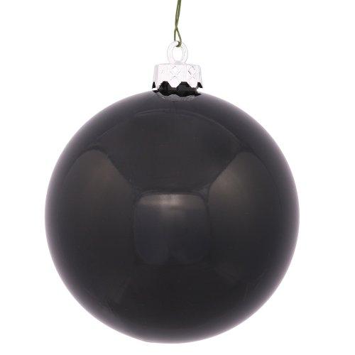 Vickerman Shiny Finish Seamless Shatterproof Christmas Ball Ornament, UV Resistant with Drilled Cap, 6 per Bag, 4″, Black