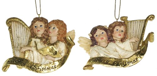 Kurt Adler Winged Angels Playing Golden Harp Ornaments – Assorted set of 2