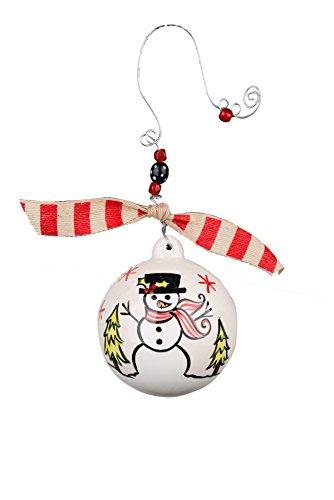 Glory Haus Warm Winter Hugs Snowman Ball Ornament, 4.5″