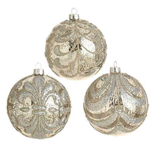 RAZ Imports – 4″ Antiqued Beaded Ball Ornaments – Set of 3