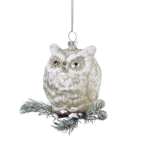 4″ Silent Luxury Rustic Frosted Glass Golden Owl Christmas Ornament