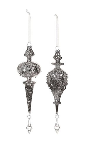 Creative Co-Op Glass Finial Shaped Ornaments with Jewels 8.5″ Long, Set of 2 – B