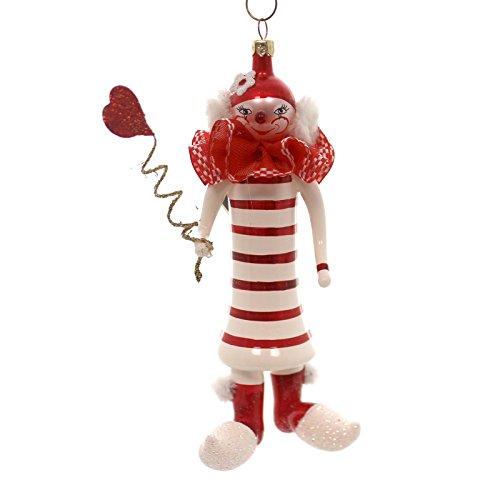 De Carlini CLOWN WITH STRIPED DRESS Blown Glass Ornament Christmas Circus PA3672