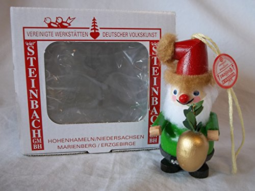 Steinbach Gm Bh Christmas Decorations ,Gifts and Ornaments Handmade in Germany Wooden Santa / ELF with Golden Fruit Ornament