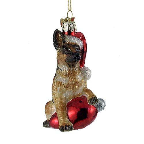 Kurt Adler Glass Noble Gems German Shepherd on Red C7 Bulb Christmas Ornament