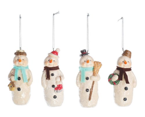 Creative Co-op Snowman Christmas Ornaments (Set of 4)