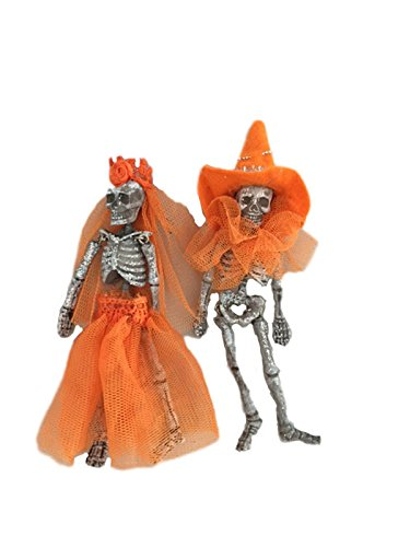 One Hundred 80 Degrees Day of the Dead Skeleton Couple Hanging Ornament (Orange)