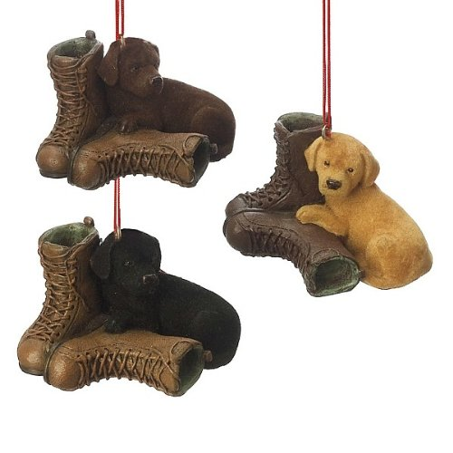 Midwest-CBK Retriever Puppy Cuddling with Boots Ornaments – Set of 3