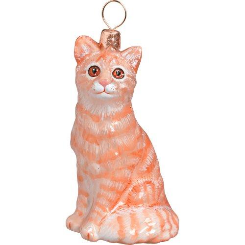 American Shorthair Tabby Cat Blown Glass Polish Christmas Ornament Decoration