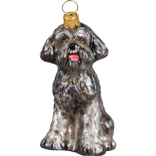 Schnoodle Gray Polish Glass Christmas Ornament Dog Tree Decoration