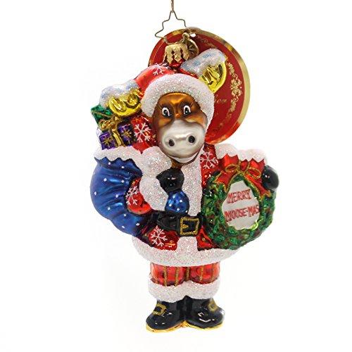 Christopher Radko BRUCE BRINGS THE CHEER Glass Merry Moose-Mas Santa 1018594