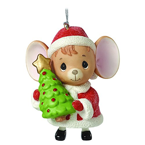 "Precious Moments, Christmas Gifts, ""The Holidays Are Mice With You"", Mouse with Tree, Porcelain Bell Ornament, #161046"