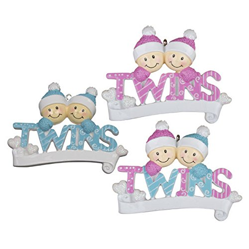 Twins Girl & Boy Personalized Christmas Tree Ornament