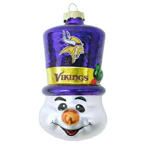 NFL Minnesota Vikings Blown Glass Top Hat Snowman Ornament