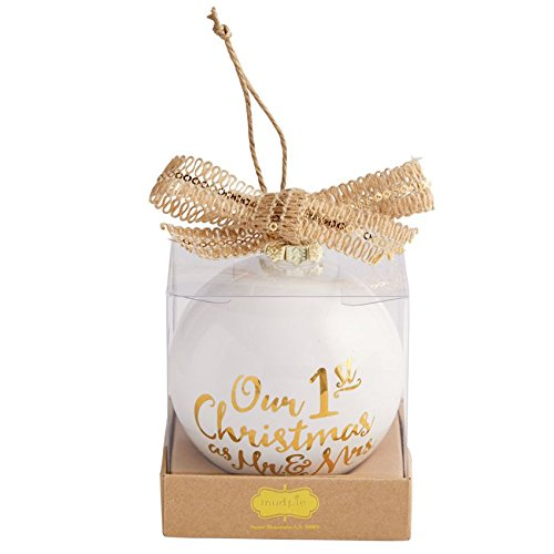 Our 1st Christmas White & Gold Ceramic Hanging Ornament