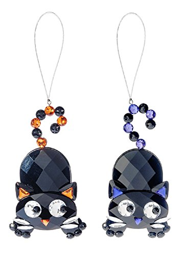 Crystal Expressions Halloween Cats – Two Assorted Orange & Purple